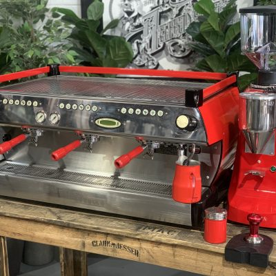 La Marzocco GB5 3 Group Red Robur Electronic Package Coffee Machine Warehouse 1858 Princes Highway , Clayton 3168 VICIMG_9544